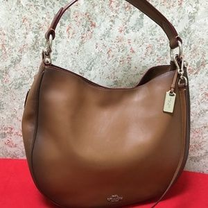 COACH Rare Burnished Saddle Leather NOMAD Hobo